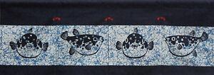 "Japanese Noren Curtain Sushi Bar Doorway Room Divider Tapestry 12""L Lucky Fugu"