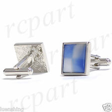 New Men's Cuff links Formal casual Party Prom Wedding light blue #27BE