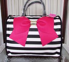 Betsey Johnson Striped Weekender Luggage Travel Bag XL Bow Fuchsia NWT
