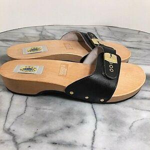 Dr Scholls The Original Vintage Exercise Wood Slides Sandals Black Size 10 Italy
