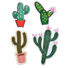 Lot 4pcs of Cactus Embroidered Cloth Iron on Patch Sew Motif Applique Badge