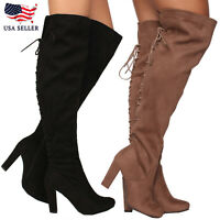New Women's Over the Knee High Chunky Heel Back Lace Up Faux Suede Boot