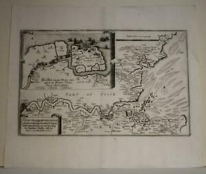 LONDON THAMES RIVER ENGLAND 1690 MERIAN UNUSUAL ANTIQUE COPPER ENGRAVED CITY MAP