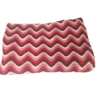 "Hand Knitted Ripple Afghan Blanket Throw 71""x78"" Handmade Pink White Burgundy ("