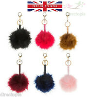 Large Pom Pom Bag Charm PomPom Keyring Clip Equilibrium Celebrity Fashion 10cm