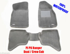To suit Ford Ranger PJ PK 3D Floor Mats GREY Carpet 2006 - 2011 Dual Crew Cab