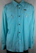 CAVI Mens Blue Solid Long Sleeve Button Front Dress Shirt Size 4XL