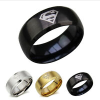 Men's 316L Stainless Steel Black Superman Superhero 8mm Band Ring Size 8 9 10 11