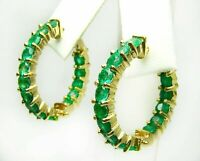 3.00 Ct Round Cut Green Emerald Inside Out Hoop Earrings In 14k Yellow Gold Over