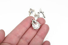"2 Rhinestone Teardrop Charm Pendants, silver bezel, faceted glass, 3/4"" CHS2859"