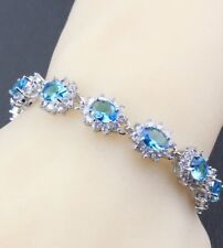 Natural Blue  Opal and Clear Topaz Tennis  Sterling Silver Bracelet, Bangle.