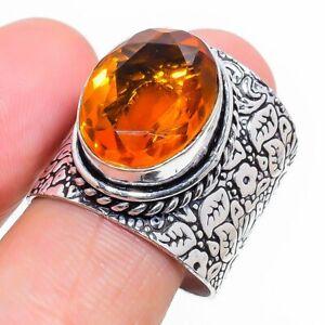 Honey Topaz Gemstone Handmade 925 Sterling Silver Jewelry Ring Size 9 r441