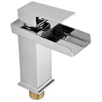 Waterfall Bathroom Vessel Sink Faucet, Chrome Single Handle Lever Hole Deck
