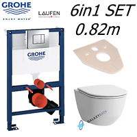 GROHE FRAME 0.82m LAUFEN PRO RIMLESS WALL HUNG TOILET PAN WITH SOFT CLOSE SEAT