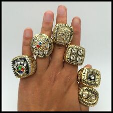 1974 1975 1978 1979 2005 2008 Pittsburgh Steelers championship ring 6 together