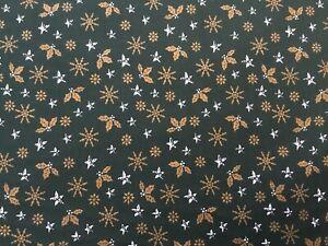 cotton 100% Christmas GREEN snowflakes, holly and  stars metallic print