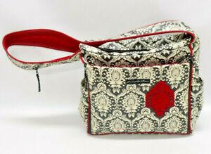 PETUNIA PICKLE BOTTOM ~ DIAPER BAG/MESSENGER BAG ~ BLACK, WHITE, RED FLORAL~GUC