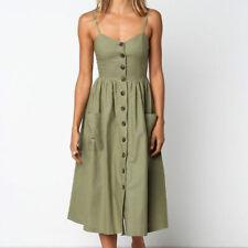 Women's Summer Casual Long Slip Dress Ladies Backless Sleeveless Beach Sundress