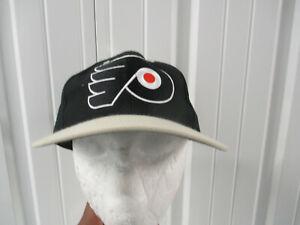 VINTAGE TWIN PHILADELPHIA FLYERS BLACK  W/ GRAY BRIM SNAP-BACK HAT CAP NWT DS
