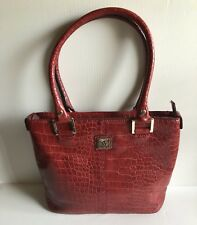 Anne Klein Handbag Red Tote Faux Snakeskin - Patent Leather