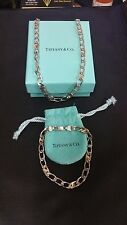 Tiffany  Sterling Silver 18k Gold Cuban Mariner Chain Link Necklace and Bracelet