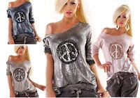 maglia maglioncino donna foglia argento lungo manica lunga pizzo&paillettes
