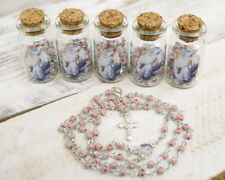 12 PC Pink Glass Bottle Rosary Baptism Favors Girl Recuerdos Bautizo Rosario