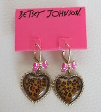 NWT Betsey Johnson Brown Heart Leopard Pink Gold drop Dangle Bow Earrings