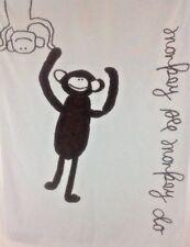 Pottery Barn Kids Blanket Monkey See Monkey Do Blue Brown Cotton Knit 30X40 Baby
