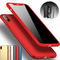 For Apple iPhone 8 6S 7 Plus X 360°Shockproof Slim Case Cover Screen Protector