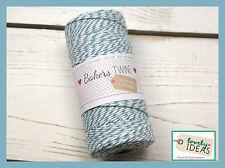 (0.09€/m) Baker's Twine light blue/WHITE 90m Roll Bakers Cord Craft cord