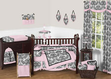 Jojo Designs Damask Designer Unique Pink Black Baby Girl Crib Luxury Bedding Set