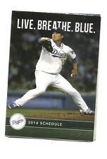Los Angeles Dodgers MLB Mini Pocket Schedule 2014 Hyun Jin Ryu