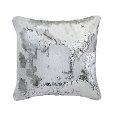 New Large Contemporary Silver & White Two Tone Sequin Mermaid Cushion 40x40cm