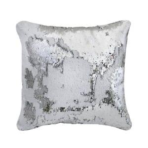New Contemporary Square Silver & White Two Tone Sequin Mermaid Cushion 40x40cm