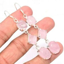 "Jewelry Earring 3"" W085C Rose Quartz Gemstone Handmade"