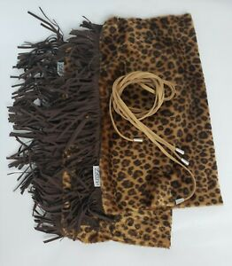 Huggrz Boot Wraps Leopard Pattered Fringe Faux Fur Boot Toppers