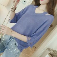 Lady Knit Ripped Pullover Blouse V Neck Hollow Out Knitwear T-shirt Tops Fashion