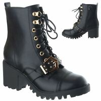 Womens Ladies Lace Zip Up Army Combat Block Heel Studs Ankle Boots Shoes Size