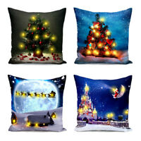 LED Light up Pillow Case Christmas Santa Claus Square Home Car Cushion Cover 18""