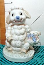 Easter, Lamb, Ceramic Figurine, Happy Smile, Collectible Home Decor, Baby Room