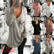 Ladies Long Sleeve Tops Tunic Casual V Neck Loose Fit T-Shirt  Blouse Basic Tee