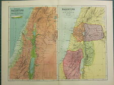 1904 ANTIQUE MAP ~ MODERN PALESTINE PHYSICAL ~ IN THE TIME OF OUR SAVIOUR JESUS