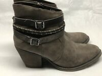 "BKE Sole Elaina Women's Ankle Boots Brown Side Zip 3"" Chunky Heels Size 10M"