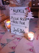 Distressed Personalised Shabby Christmas Sign Chic Gift Santa Please Stop Here