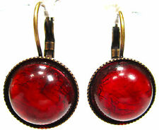 SoHo® Ohrhänger vintage bohemia 13mm deep red Japan 1950´s glas handmade