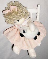 """Music Box Doll in Swing Wearing Orange Holding Lamb Sheep """"My Favorite Things"""""""