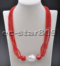 D0301 Set Red Pink round Coral bead White keshi pearl Necklace & Bracelet
