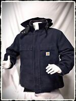 Carhartt Mens Jacket Size 2XL Reg. Navy Blue .Great winter Jacket With New Hood.