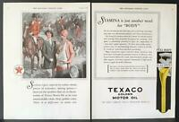 1928 Texaco Golden Motor Oil Horses Hunting Dogs Vintage 2-Page Print Ad